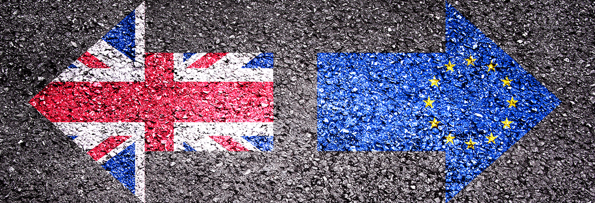 Union Jack and Europe Flags Painted On A Road